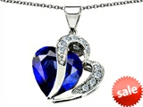 Original Star K™ Heart Shape Big 15mm Created Sapphire Pendant Extra Large Version