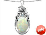 Original Star K™ Loving Mother And Family Pendant With Oval Created Opal