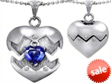 Original Star K™ Puffed Heart Pendant with September Birthstone Simulated Sapphire Surprise Inside