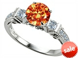 Original Star K™ Classic 3 Stone Engagement Ring With Round 7mm Simulated Mexican Fire Opal style: 305404