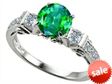 Original Star K™ Classic 3 Stone Engagement Ring With Round 7mm Simulated Emerald style: 305406