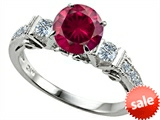 Original Star K™ Classic 3 Stone Engagement Ring With Round 7mm Created Ruby style: 305407