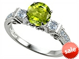 Original Star K™ Classic 3 Stone Engagement Ring With Round 7mm Genuine Peridot