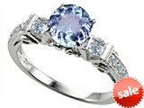 Original Star K™ Classic 3 Stone Engagement Ring With Round 7mm Simulated Aquamarine style: 305412