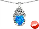Original Star K™ Loving Mother Twins Family Pendant With 8mm Heart Shape Created Blue Opal style: 305414