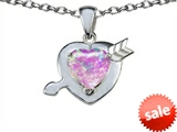 Original Star K™ Heart with Arrow Love Pendant with Heart Shape 8mm Created Pink Opal