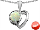 Original Star K™ Heart Shape Pendant With Round 7mm Created Opal