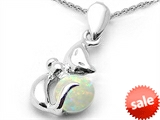 Original Star K™ Round Created Opal Cat Pendant