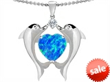 Original Star K™ Kissing Dolphins Pendant With 8mm Heart Shape Created Blue Opal