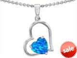Original Star K™ 8mm Heart Shape Created Blue Opal Pendant