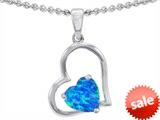 Original Star K™ 8mm Heart Shape Created Blue Opal Pendant style: 305419