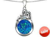 Original Star K™ Loving Mother And Father With Child Family Pendant With Round Created Blue Opal style: 305420