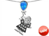 Original Star K™ Little Girl Holding a Balloon Mother Birthstone Created Blue Opal Pendant
