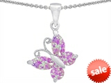Original Star K™ Butterfly Pendant Made with Created Pink Opal