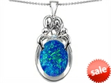 Original Star K™ Loving Mother And Family Pendant With Oval Created Blue Opal