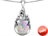 Original Star K™ Large Loving Mother With Children Pendant With Round Created Pink Opal