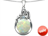 Original Star K™ Loving Mother And Father With Child Family Pendant With Round Created Opal