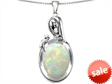 Original Star K™ Loving Mother With Child Family Pendant With Oval Created Opal