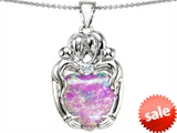 Original Star K™ Large Loving Mother Twins Family Pendant With 12mm Heart Shape Simulated Pink Opal