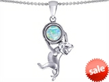 Original Star K™ Cat Lover Pendant with October Birth Month Simulated Opal style: 305434