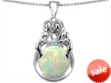 Original Star K™ Large Loving Mother And Family Pendant With Created Round Opal