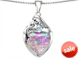 Original Star K™ Large Loving Mother With Child Family Pendant With Heart Shape Created Pink Opal