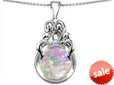Original Star K™ Large Loving Mother And Family Pendant With Round Created Pink Opal