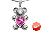 Original Star K™ Love Bear Holding Heart Shape 8mm Created Pink Sapphire