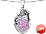 Original Star K™ Large Loving Mother Father With Child Family Pendant With 12mm Heart Created Pink Opal style: 305441