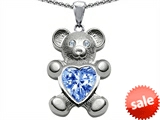 Original Star K™ Love Bear Holding Birthstone of March Heart Shape Simulated Aquamarine