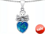 Original Star K™ Love Angel Pendant with 10mm Created Blue Opal Heart