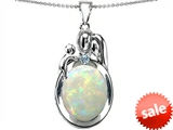 Original Star K™ Loving Mother And Father With Child Pendant With Oval Created Opal
