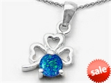 Celtic Love by Kelly Round Simulated Blue Opal Lucky Clover Pendant style: 305452