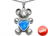 Original Star K™ Love Bear Holding Birthstone of October Heart Shape Created Blue Opal