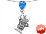 Original Star K™ Boy Holding a Balloon Mother October Birthstone Pear Shape Created Blue Opal Pendant