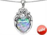 Original Star K™ Large Loving Mother Twins Family Pendant With 12mm Heart Shape Created Opal