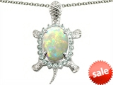Original Star K™ Good Luck Turtle Pendant With Oval 12x10mm Simulated Opal style: 305460