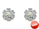 Original Star K™ Flower Earrings With Round Created Opal style: 305462
