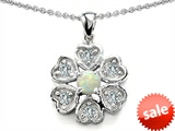 Original Star K™ Flower Pendant With Round 4mm Created Opal style: 305463