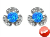 Original Star K™ Flower Earrings With Round 5mm Created Blue Opal