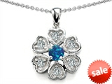 Original Star K™ Flower Pendant With Round 4mm Created Blue Opal