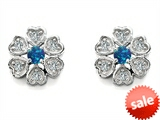 Original Star K™ Flower Earrings With Round Created Blue Opal
