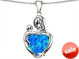 Original Star K™ Large Loving Mother With Child Pendant With 12mm Heart Shape Created Blue Opal style: 305467