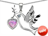 Original Star K™ Peace Love Dove Pendant with 7mm Heart Shape Created Pink Opal