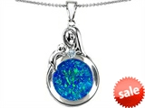Original Star K™ Loving Mother With Child Family Pendant With Round Created Blue Opal