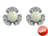 Original Star K™ Flower Earrings With Round 5mm Created Opal