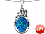 Original Star K™ Loving Mother And Father With Child Pendant With Oval Created Blue Opal
