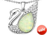Original Star K™ Love Swan Pendant With Pear Shape Created Opal