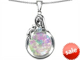 Original Star K™ Loving Mother With Child Family Pendant With Round Simulated Pink Opal style: 305478