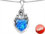 Original Star K™ Large Loving Mother Twin Children Pendant With 12mm Heart Created Blue Opal